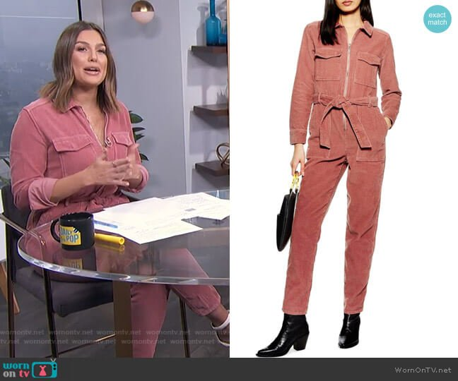 Corduroy Boilersuit by Topshop worn by Carissa Loethen Culiner  on E! News