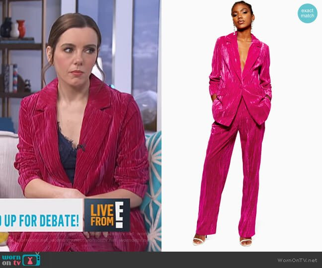 Crinkle Velvet Jacket and Trousers by Topshop worn by Melanie Bromley  on E! News