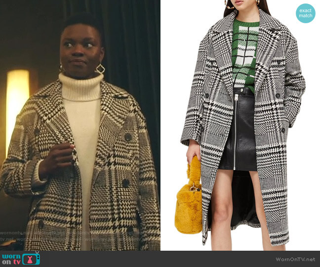 Kim Check Coat by Topshop worn by Mina Okafor (Shaunette Renee Wilson) on The Resident