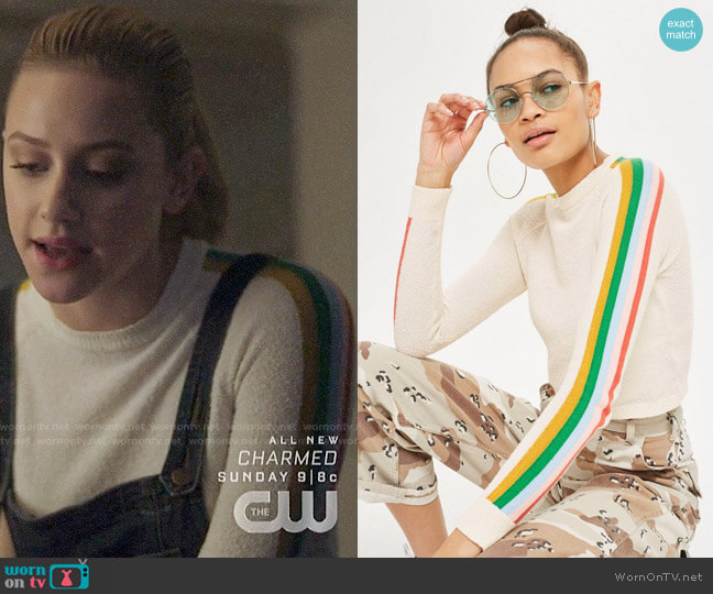 Topshop Rainbow Sleeve Knit Top worn by Betty Cooper (Lili Reinhart) on Riverdale