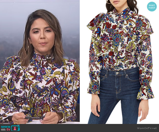 Rokit Floral Ruffle Blouse by Topshop worn by Erin Lim  on E! News