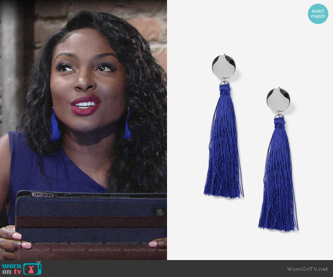 Topshop Blue Stud Tassel Drop Earrings worn by Ana Hamilton (Loren Lott) on The Young & the Restless