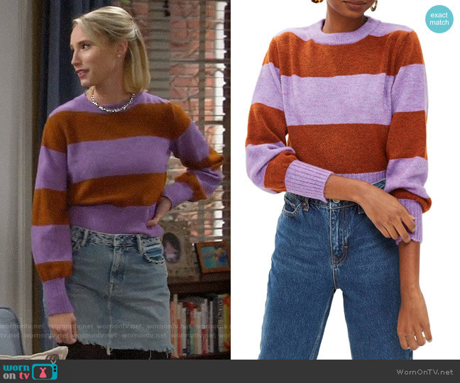 Topshop Bold Stripe Crewneck Sweater worn by Mandy Baxter (Molly McCook) on Last Man Standing