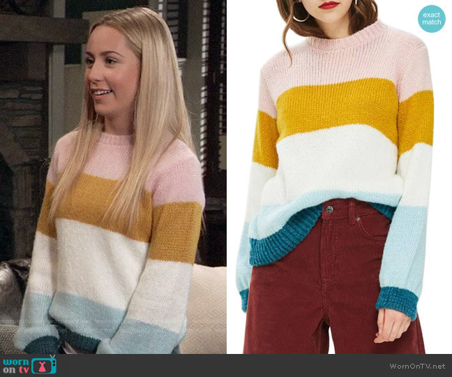 Topshop Colorblock Knit Pullover worn by Eden McCoy on General Hospital