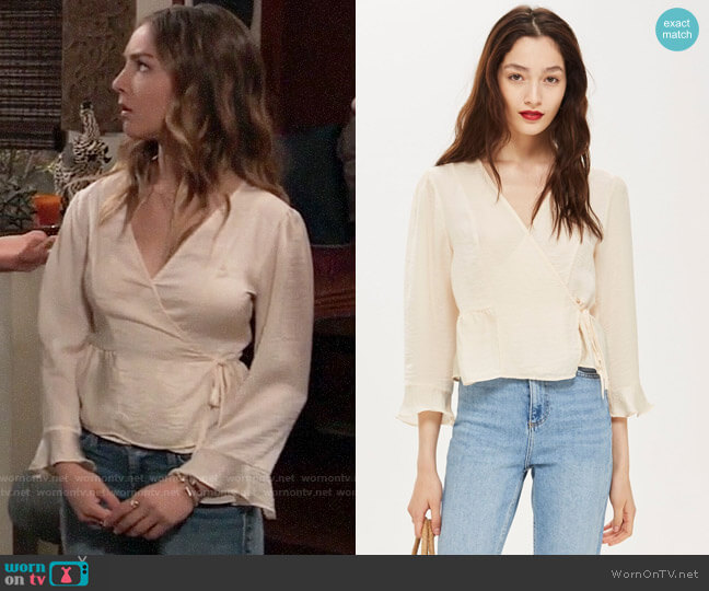 Topshop Frill Wrap Blouse worn by Kristina Corinthos (Lexi Ainsworth) on General Hospital