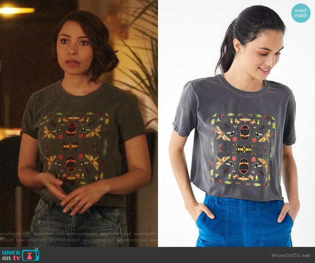 Urban Outfitters Insect Collage Tee worn by Nora West-Allen (Jessica Parker Kennedy) on The Flash
