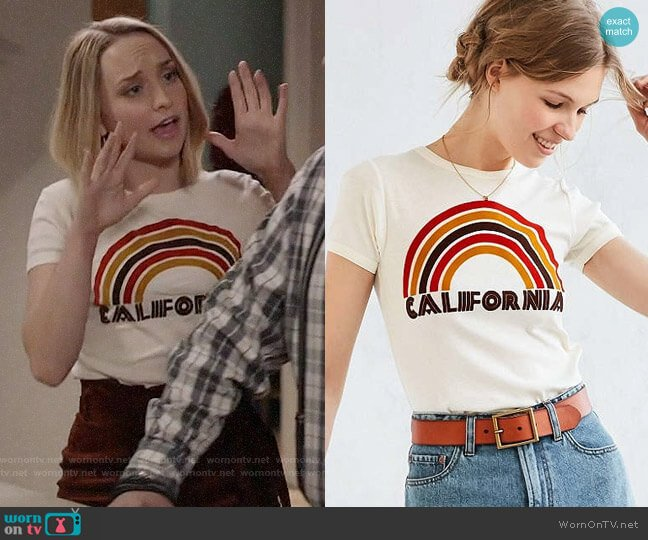 Urban Outfitters California Flocked Rainbow Tee worn by Sherry on Modern Family