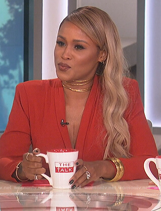 Eve's red tie waist jumpsuit on The Talk