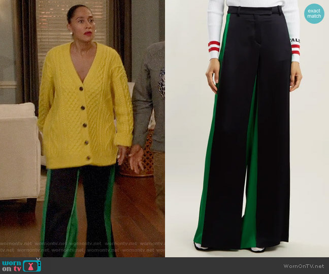 Valentino Wide-leg hammered-satin trousers worn by Rainbow Johnson (Tracee Ellis Ross) on Blackish