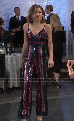Valerie's sequin NYE jumpsuit on General Hospital