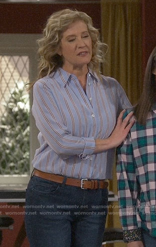 Vanessa's blue striped shirt on Last Man Standing