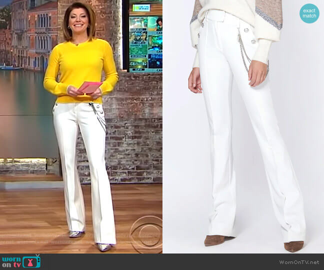 Alair Trouser with Chain by Veronica Beard worn by Norah O'Donnell on CBS This Morning