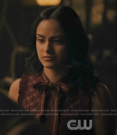 Veronica's burgundy lace top with tie neck on Riverdale