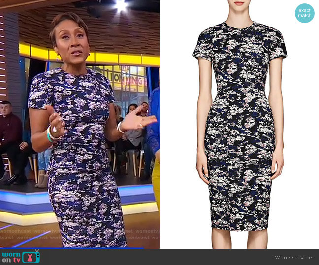 Abstract Cotton-Blend Jacquard Fitted Sheath Dress by Victoria Beckham worn by Robin Roberts  on Good Morning America