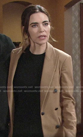 Victoria's camel double-breasted blazer on The Young and the Restless