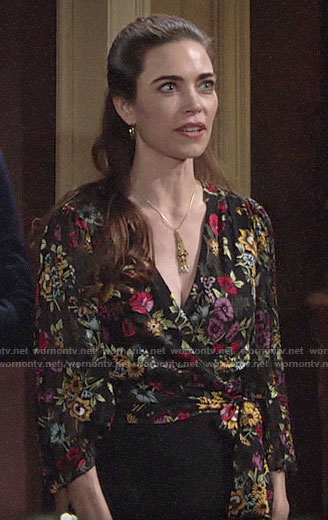 Victoria's floral wrap blouse on The Young and the Restless