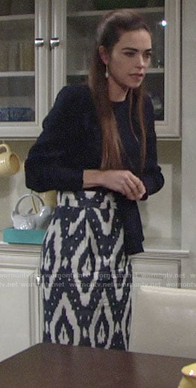Victoria's navy blouse and ikat print skirt on The Young and the Restless