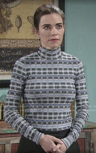 Victoria's blue patterned turtleneck on The Young and the Restless