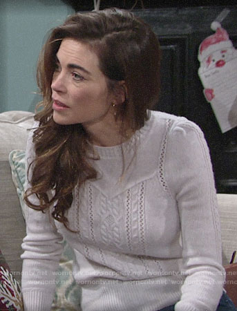 Victoria's off-white cable knit sweater on The Young and the Restless