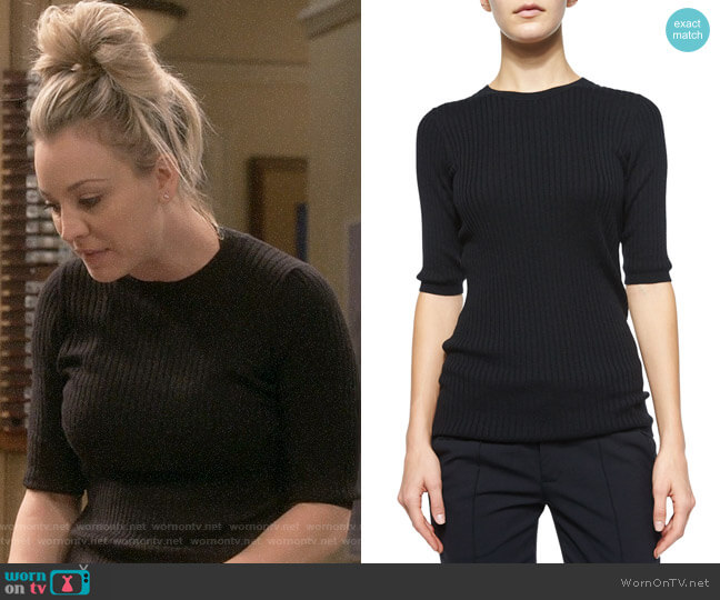 Vince  Skinny Rib Crewneck Sweater worn by Penny Hofstadter (Kaley Cuoco) on The Big Bang Theory