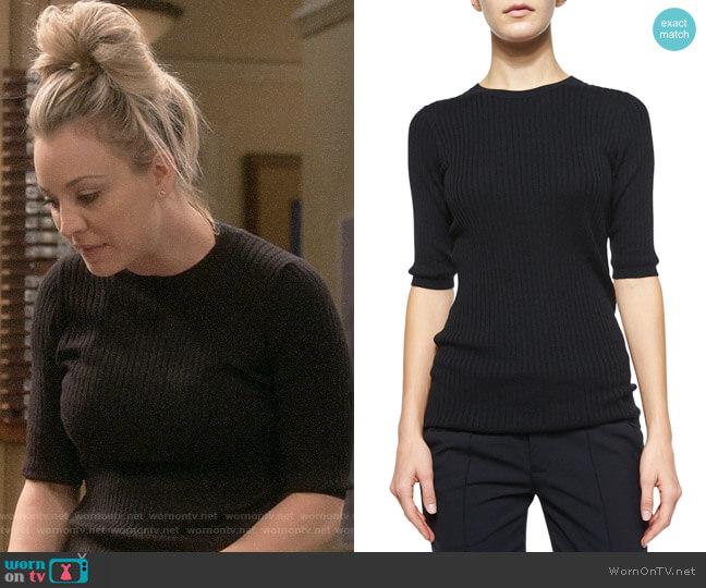 Vince  Skinny Rib Crewneck Sweater worn by Penny (Kaley Cuoco) on The Big Bang Theory