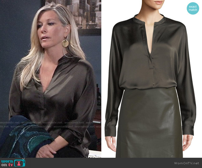 Vince Split-Neck Long-Sleeve Silk Satin Blouse worn by Carly Corinthos (Laura Wright) on General Hospital