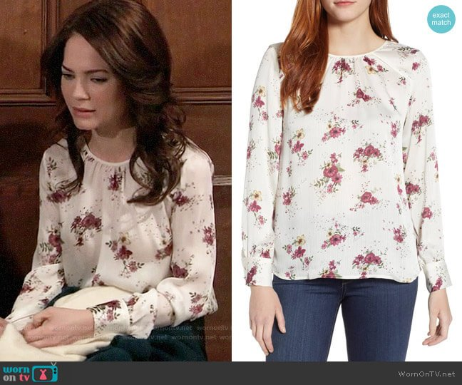 Vince Camuto Delicate Bouquet Mixed Media Top worn by Elizabeth Webber (Rebecca Herbst) on General Hospital