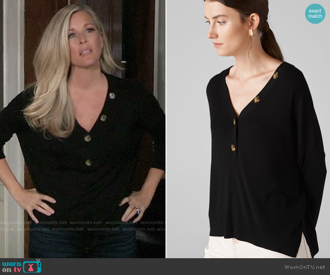 Whistles V Neck Button Detail Knit worn by Carly Corinthos (Laura Wright) on General Hospital