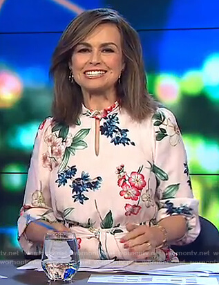 Lisa's white floral keyhole dress on The Project