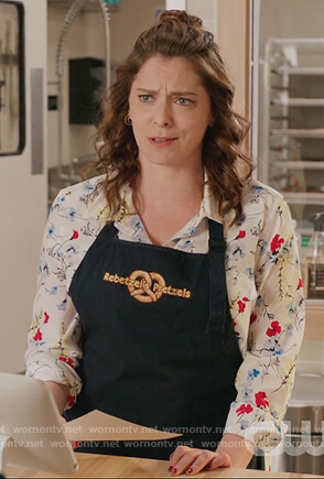 Rebecca's white floral print blouse on Crazy Ex Girlfriend