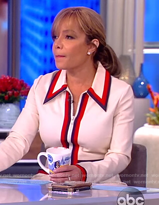 Sunny's white striped zip front dress on The View