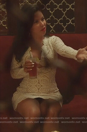 Mariana's white lace mini dress on Good Trouble