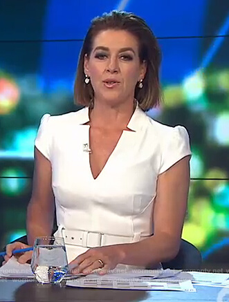 Gorgi's white belted dress on The Project