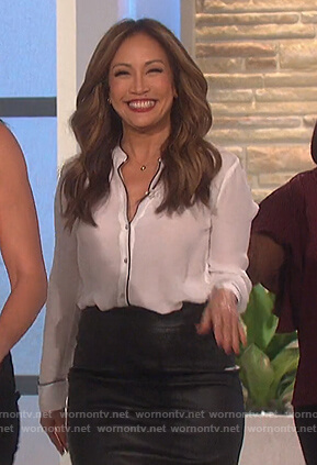 Carrie's white piping trim blouse on The Talk