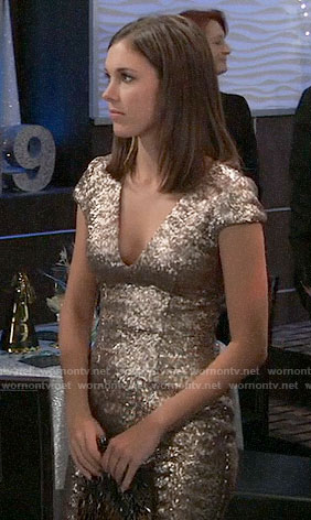 Willow's gold NYE dress on General Hospital