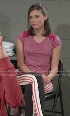 Willow's pink tee and side-stripe leggings on General Hospital