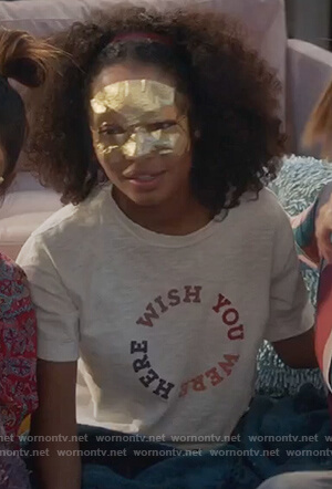 Zoey's white wish you were here graphic tee on Grown-ish