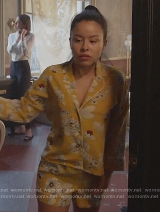 Mariana's yellow floral pajamas on Good Trouble