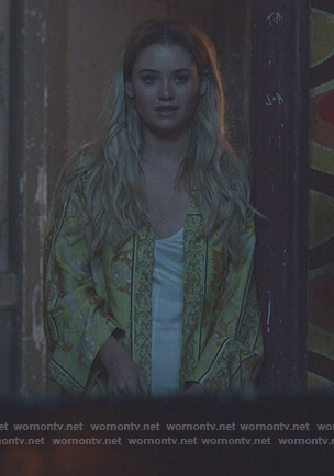 Karolina's yellow floral kimono on Marvel's Runaways