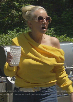 Margaret's yellow off shoulder sweater on The Real Housewives of New Jersey