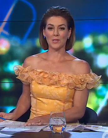 Gorgi's yellow floral ruffled dress on The Project