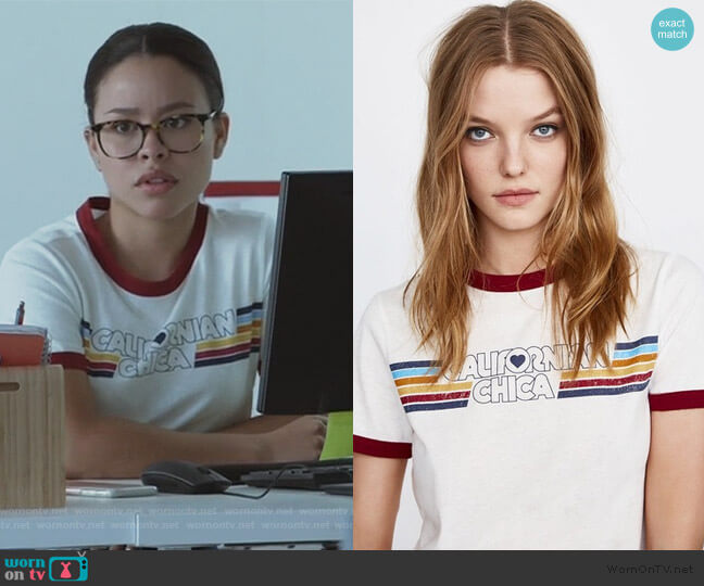 Californian Chica Graphic Ringer Tee by Zara worn by Mariana Foster (Cierra Ramirez) on Good Trouble