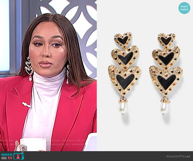 Heart Shaped Pendant Earrings by Zara worn by Adrienne Houghton  on The Real