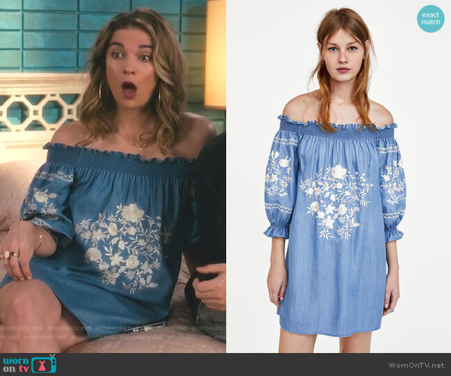 Off The Shoulder Boho Dress by Zara worn by Alexis Rose (Annie Murphy) on Schitts Creek