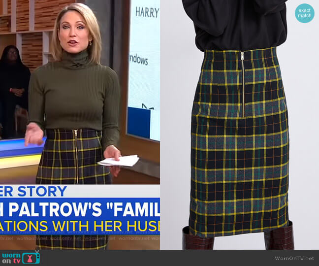 Plaid Tube Skirt by Zara worn by Amy Robach  on Good Morning America