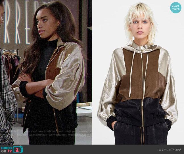 Zara Color Block Jacket worn by Zoe (Kiara Barnes) on The Bold & the Beautiful