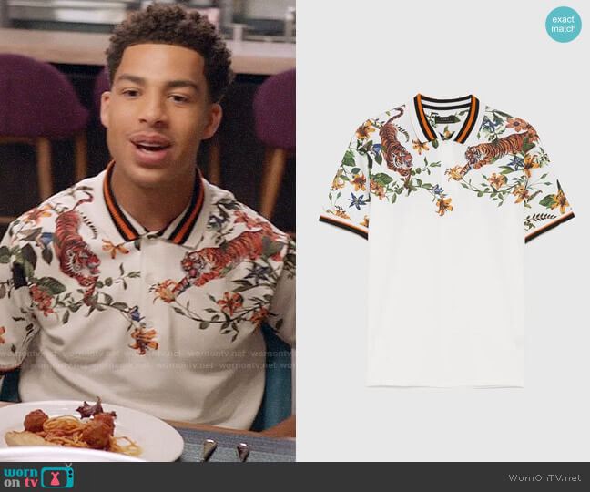 Zara Floral Printed Polo Shirt worn by Andre Johnson Jr (Marcus Scribner) on Blackish