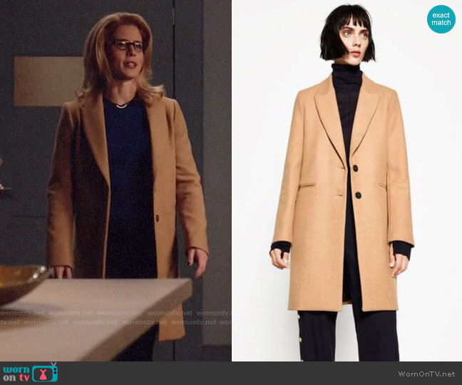 Zara Masculine Coat worn by Felicity Smoak (Emily Bett Rickards) on Arrow