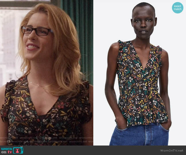 Zara Metallic Thread Printed Blouse worn by Felicity Smoak (Emily Bett Rickards) on Arrow
