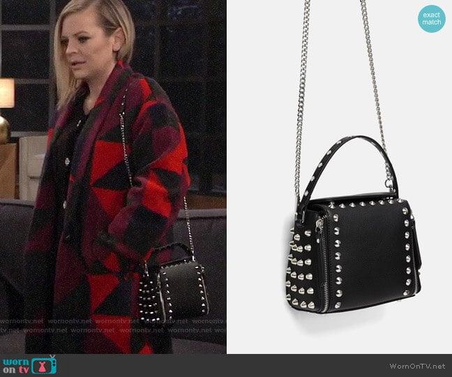 Zara Rocker Crossbody Bag worn by Kirsten Storms on General Hospital